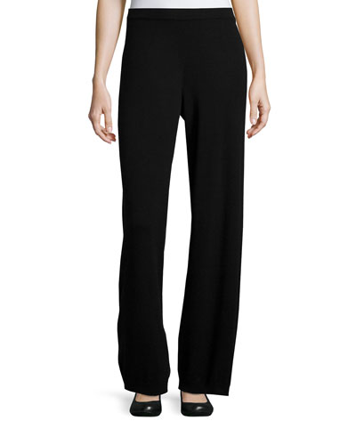 Joan Vass Wool-Cashmere Wide-Leg Pants, Black, Women's