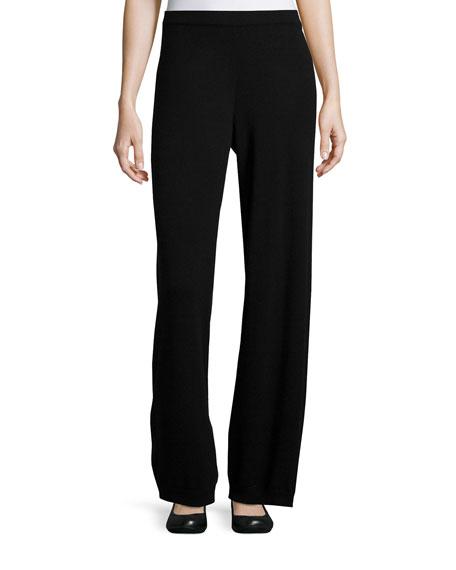 Joan Vass Wool-Cashmere Wide-Leg Pants, Black, Women's