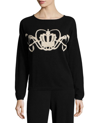 Crown Intarsia Wool-Cashmere Sweater, Women's