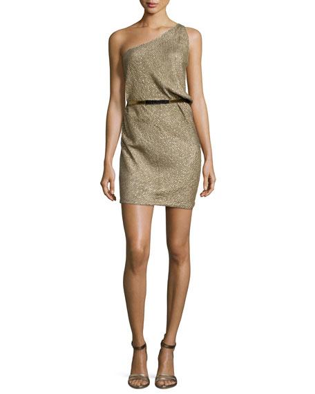 Kaufman Franco One-Shoulder Linear Crystal Bugle Dress, Twine