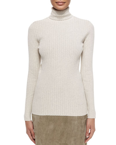 Ribbed Turtleneck Sweater, Taupe