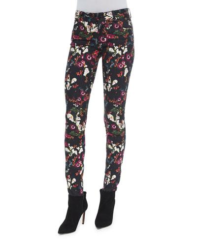 Jane Fall Garden Skinny Jeans, Black/Multicolor