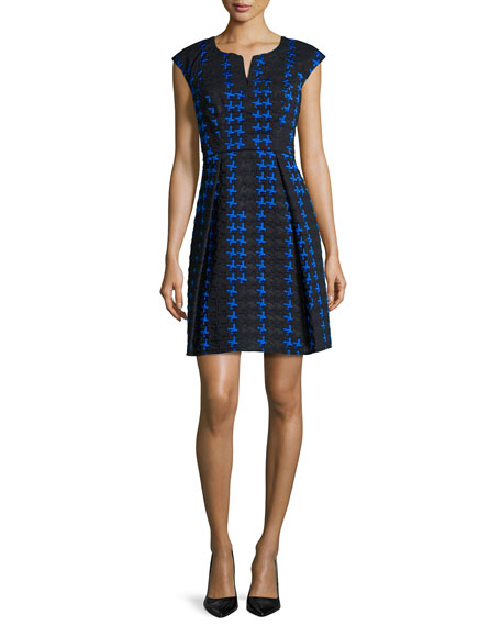 Milly Zip-Front Crosshatch Fit & Flare Dress