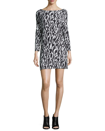 3/4-Sleeve Graffiti Scribble-Print Shift Dress