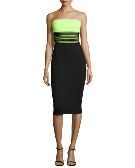 Milly Strapless Colorblock Tech Dress