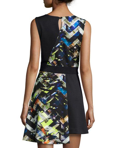 Zigzag-Print Asymmetrical Dress