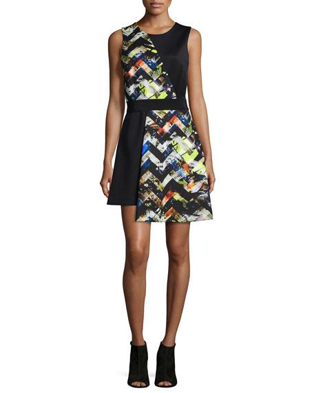 Milly Zigzag-Print Asymmetrical Dress