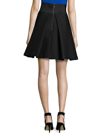 High-Waisted Pleated A-Line Bubble Skirt, Black