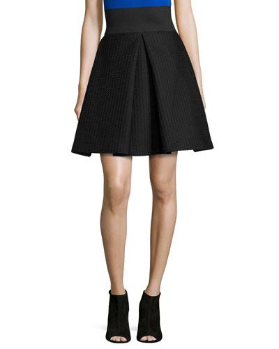High-Waisted Pleated A-Line Bubble Skirt, Black