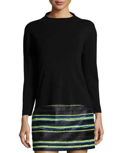 Funnel-Neck Wool Pullover