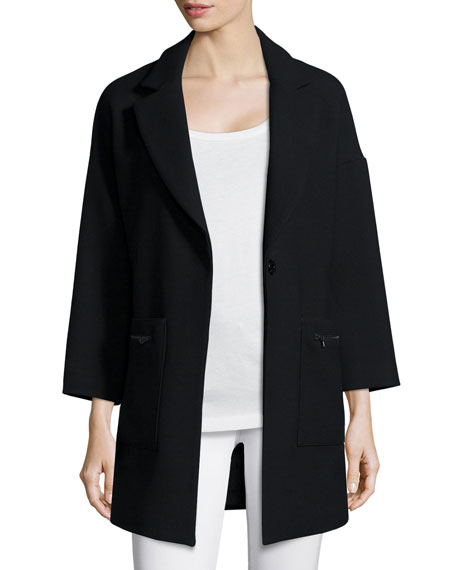 Milly Nikki Single-Button Wool-Blend Coat, Black