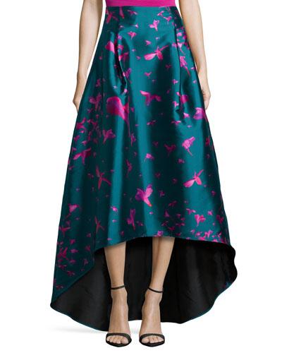 Bird-Print High-Low Skirt