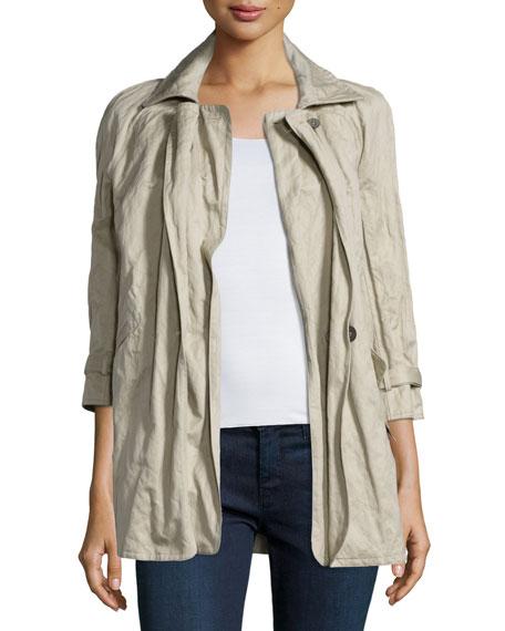 Kaufman Franco Three-Quarter Sleeve Crinkle Jacket, Twine