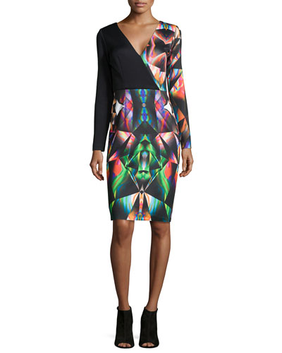Prism-Print Long-Sleeve Sheath Dress
