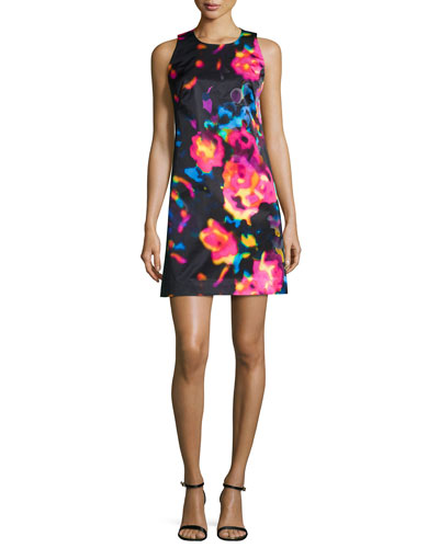 Rosette-Print Shift Dress