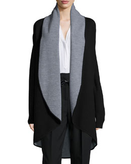 Contrast Draped Wool Coat