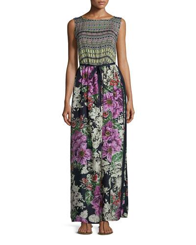 Sleeveless Mode Mix Maxi Dress