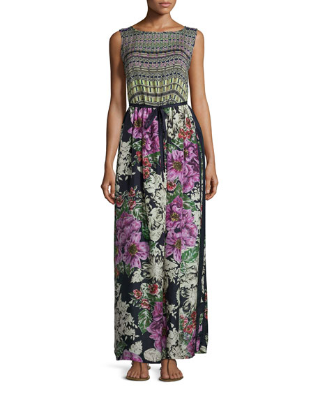 Johnny Was Collection Sleeveless Mode Mix Maxi Dress