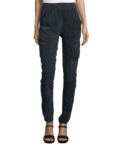 Slim-Leg Parachute Pants, Onyx