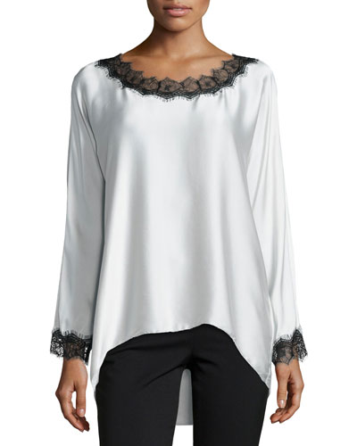 Long-Sleeve Silk Tunic W/ Lace Trim, Petite