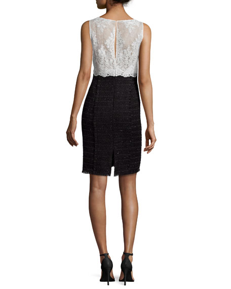 Lace & Tweed Combo Sheath Dress