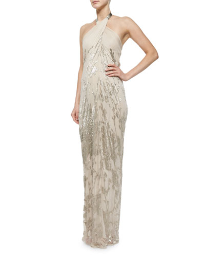 Jungle Blossom Embellished Gown, Nude/Burlap