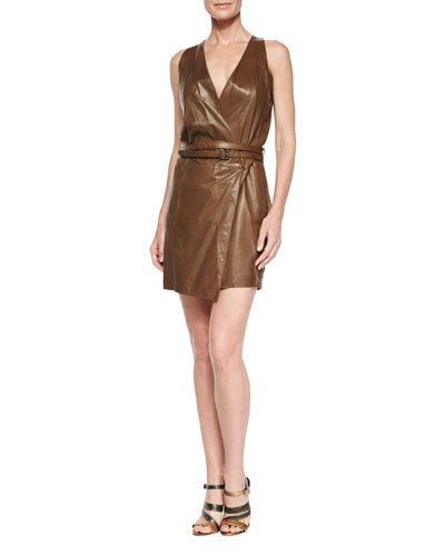 Sleeveless Belted Wrap Dress, Tobacco