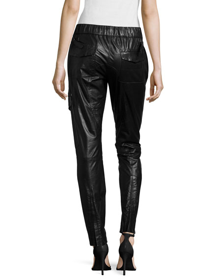 Paper Leather Skinny-Fit Pants, Onyx