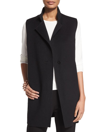 High-Collar Double-Face Vest, Petite