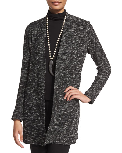 Long-Sleeve Micro-Tweed Jacket, Petite