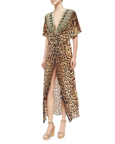 Animal-Print Front-Twist Split Dress