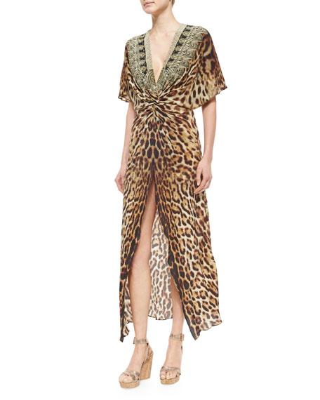 Camilla Animal-Print Front-Twist Split Dress