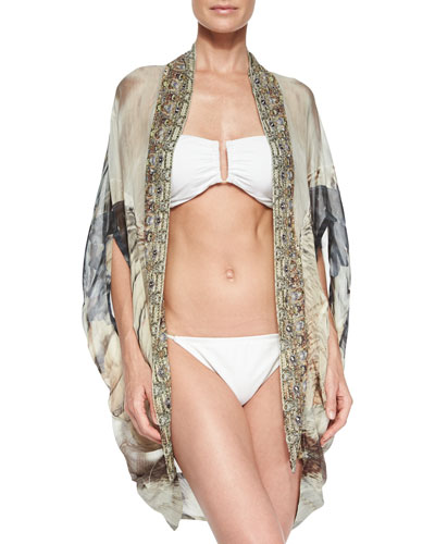 Open-Front Printed Cardigan/Cape Coverup