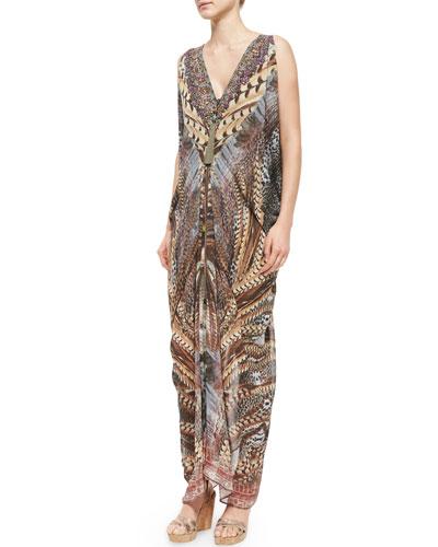 Printed Beaded Long Drape Dress