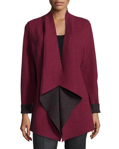 Merino Double-Knit Kimono Jacket, Passionflower, Petite