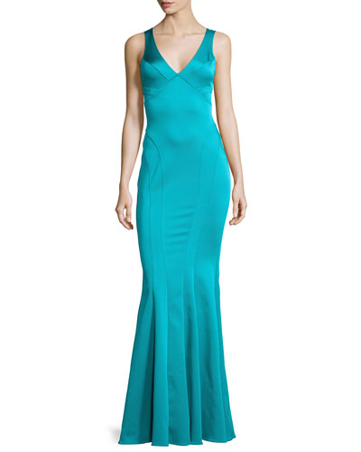 Jac Sleeveless Mermaid Gown, Ace Blue