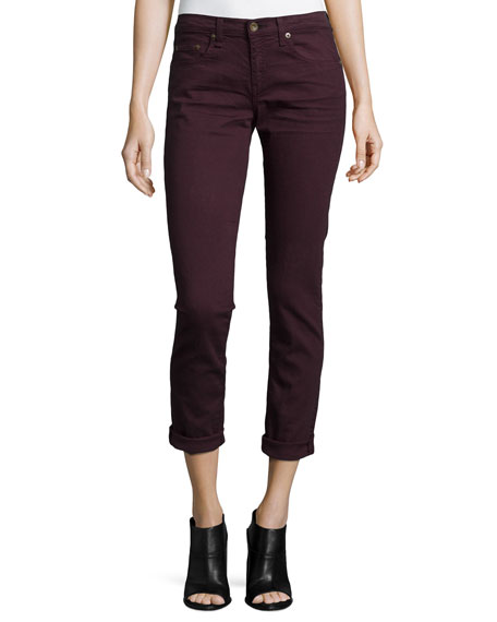 rag & bone/JEAN Dre Low-Rise Cropped Denim Jeans, Aged Wine