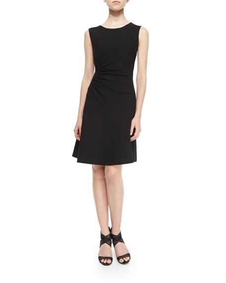 Diane von Furstenberg Dayna Ruched Fit-and-Flare Dress, Black