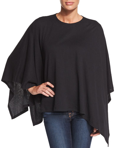 Double-Face Cotton/Cashmere Knit Poncho