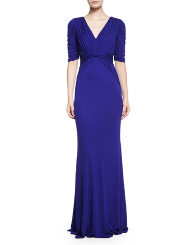 V-Neck Draped-Back Jersey Gown