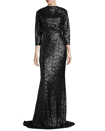 3/4-Sleeve Sequined Blouson Gown