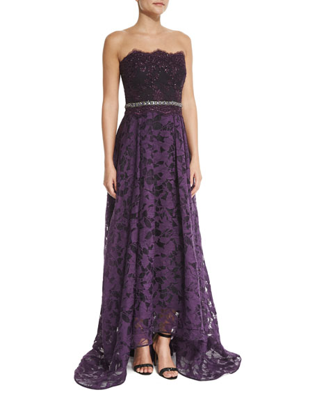 Badgley Mischka Strapless Beaded-Waist Lace High-Low Gown