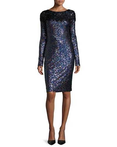 Long-Sleeve Sequined Cocktail Dress