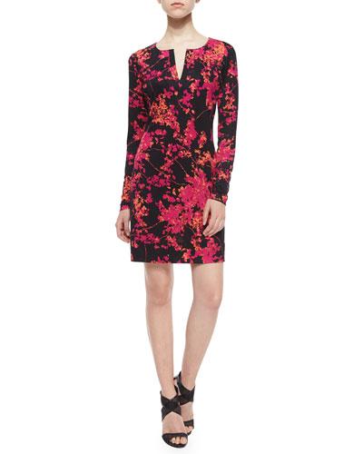 Reina Floral Daze Sheath Dress, Black/Pink