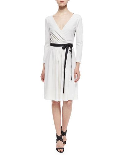 Seduction Long-Sleeve Lace-Trim Wrap Dress, White/Black