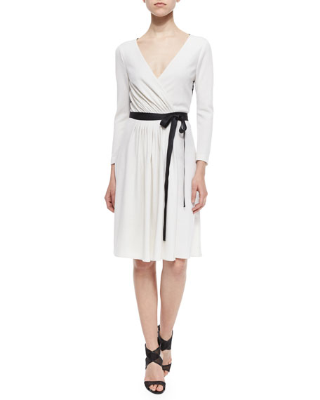 Diane von Furstenberg Seduction Long-Sleeve Lace-Trim Wrap Dress,