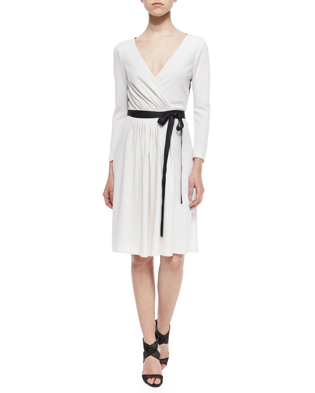 cc2271c64c48 Diane von Furstenberg Seduction Long-Sleeve Lace-Trim Wrap Dress,  White/Black