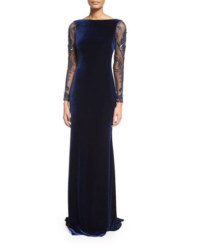 Beaded-Long-Sleeve Velvet Gown