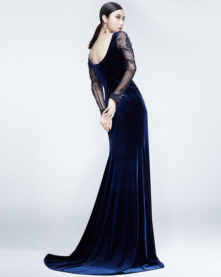 Beaded-Long-Sleeve Velvet Gown