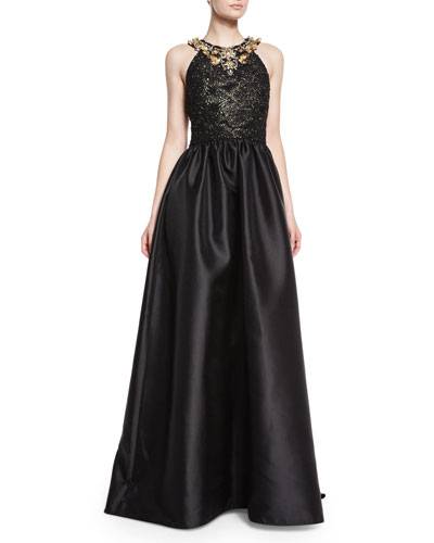Halter Beaded Ball Gown